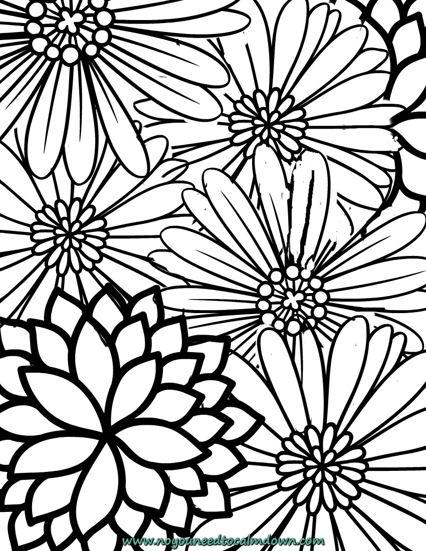 calming coloring pages for adults printable | Free Printable Adult Coloring Page - Blossoms | No, YOU ...