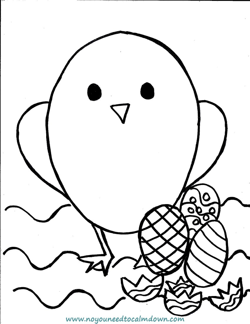 Easter Chick Coloring Page for