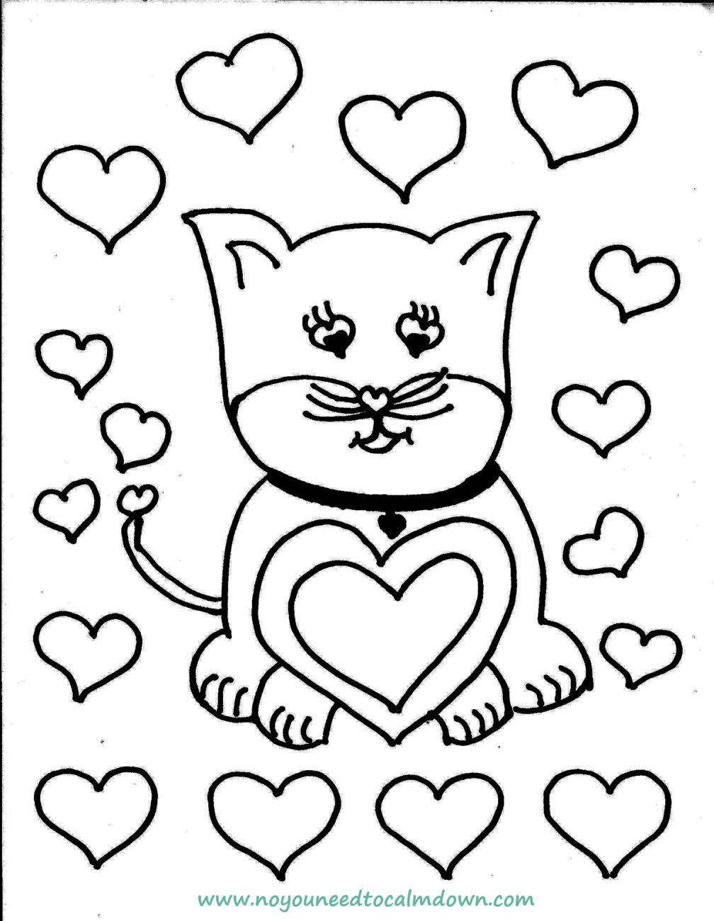 cat valentine coloring pages for kids | Cute Cat Valentine's Day Coloring Page - Free Printable ...