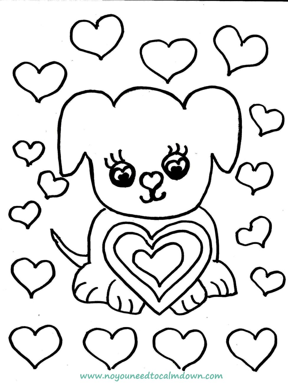 Cute Dog Valentine's Day Coloring Page - Free Printable ...