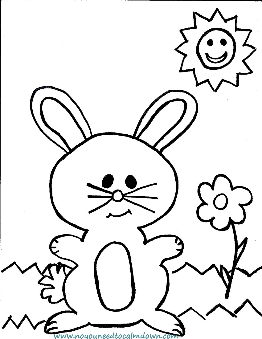 Easter Bunny Coloring Page for Kids Free Printable No