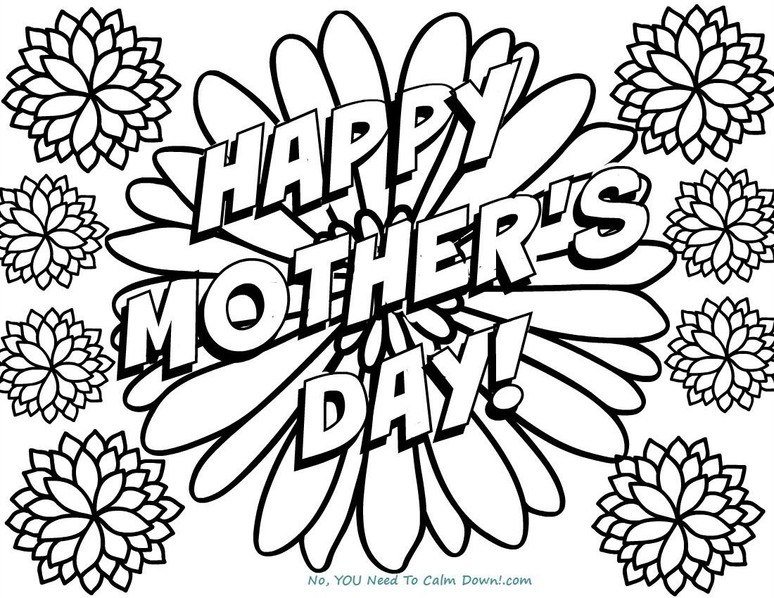 Happy Mother 39 s Day Flowers Coloring Page Free Printable