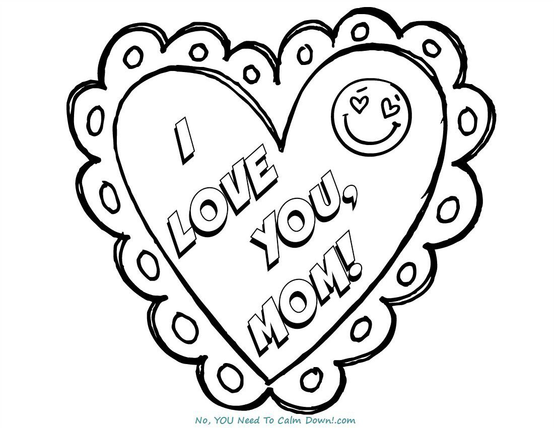 I Love You, Mom Mother's Day Coloring Page