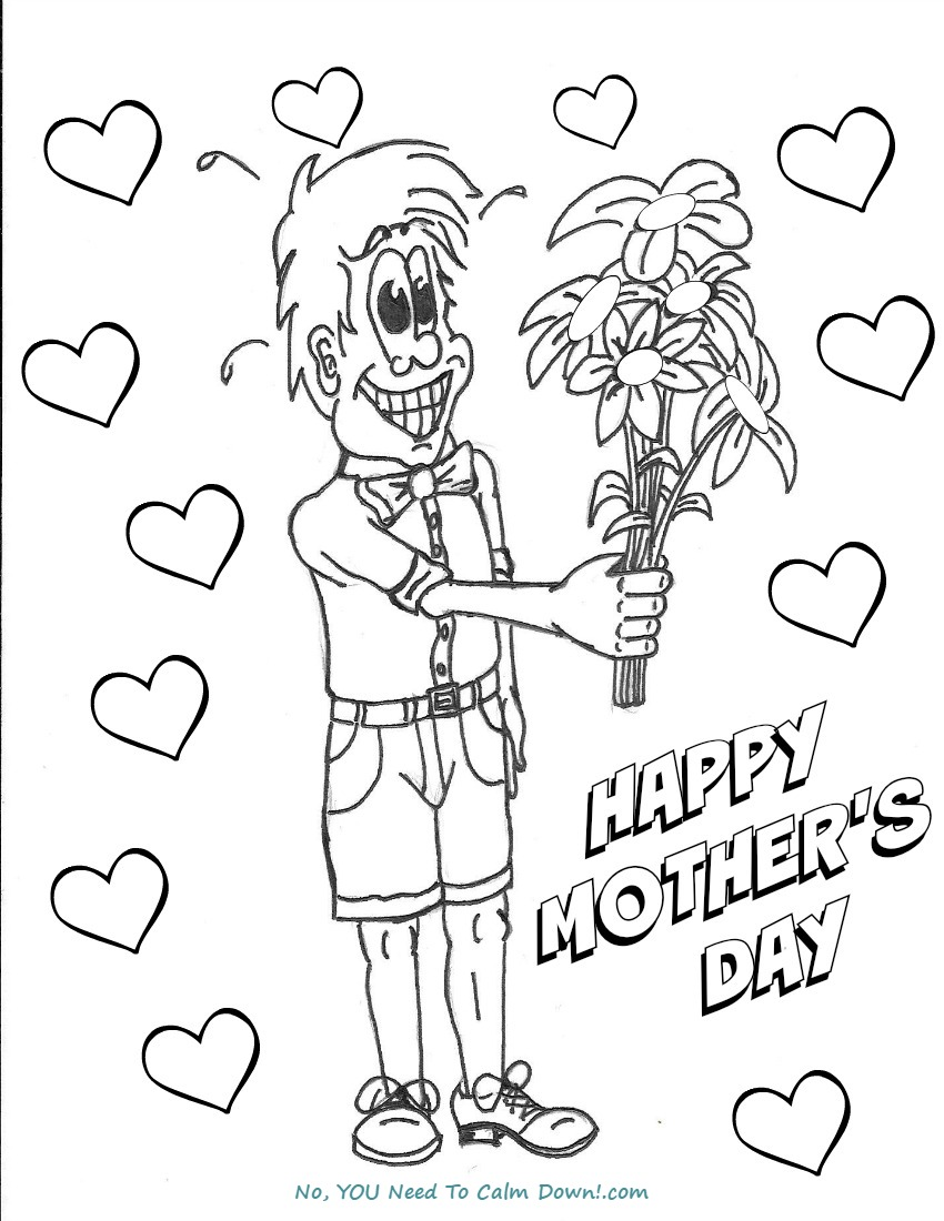 Boy With Flowers Mother 39 s Day Coloring